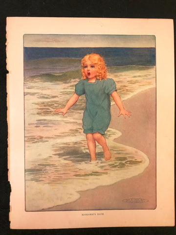 Antique 1911 Color Plate Little Girl Surprised in Water at the Beach M L Kirk