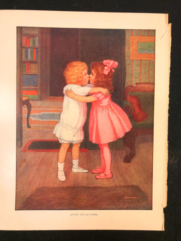 Antique 1911 Color Plate After the Quarrel M L Kirk 2 Little Sisters Kissing