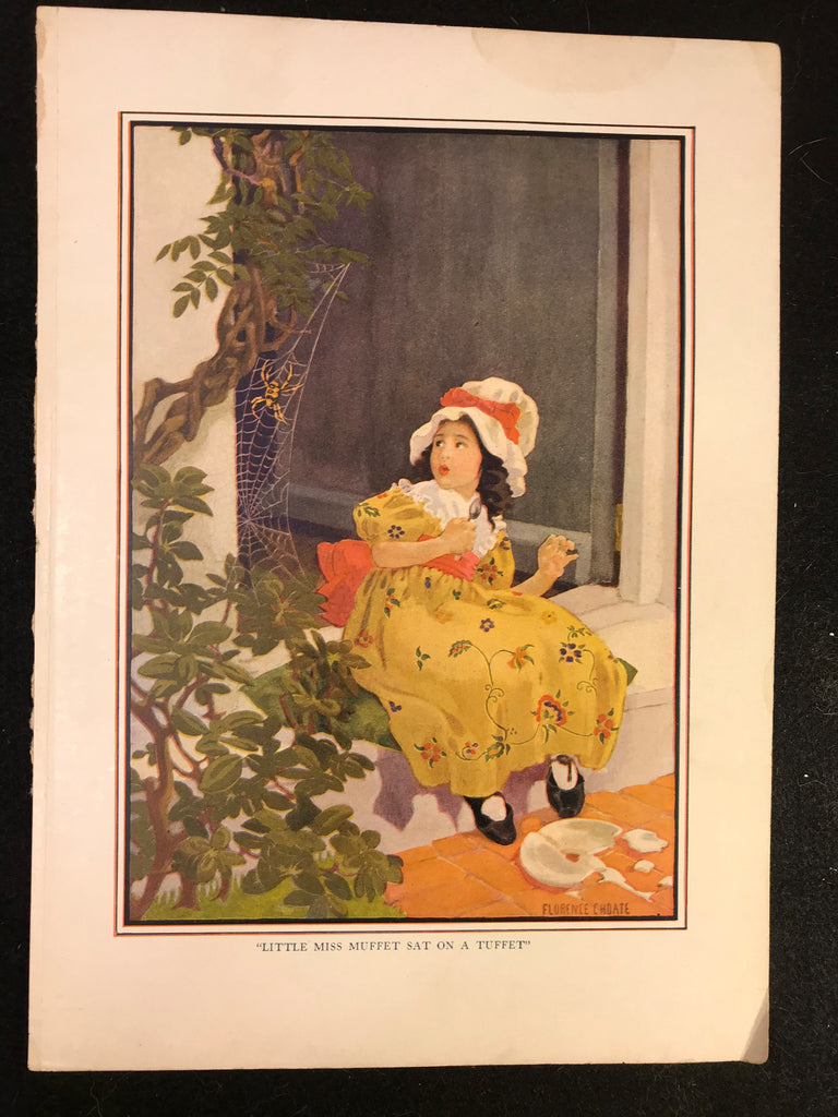 Antique 1916 Color Plate Florence Choate Original Page Little Miss Muffet Tuffet