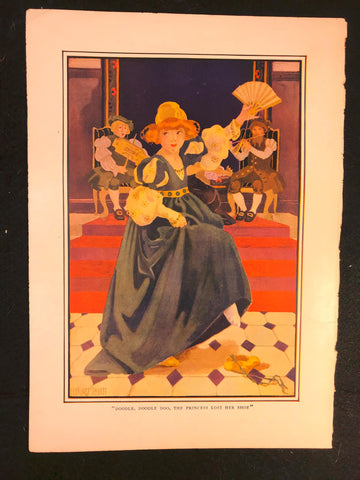 Antique 1916 Color Plate Florence Choate Doodle Doo Princess Lost Her Shoe Print