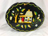 Vintage Oval Tin W/ Handles Pa Dutch German Folk Art Lunch Pail Sewing Toleware