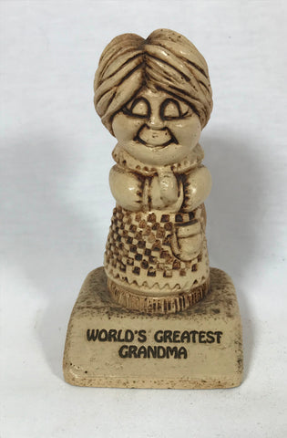 Vtg World's Greatest Grandma Statue Sillisculpt Paula 1972 W-246 Small