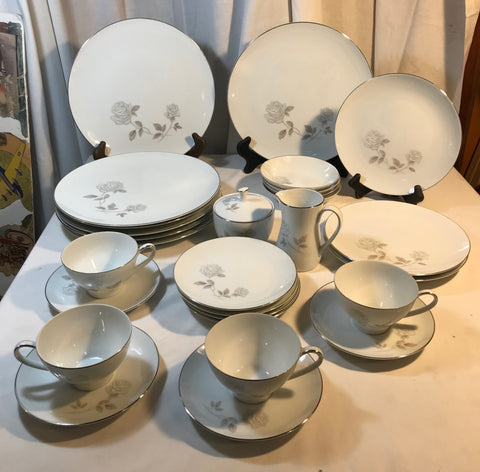 Noritake Rosay China Gray Roses 29 pieces Japan - Cabin Fever Purveyors