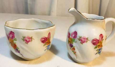 Schumann Bavaria Germany US Zone Open Sugar & Creamer Roses Floral Gold Trim - Cabin Fever Purveyors