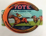 Vintage TOTE Label Sportsman's Tonic Favourite Wins Horseshoe Racing Equestrian