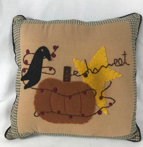 "New Primitive Fall Mini Pillow Pumpkin Crow Fabric Felt 9"" x 9"" from Audreys"