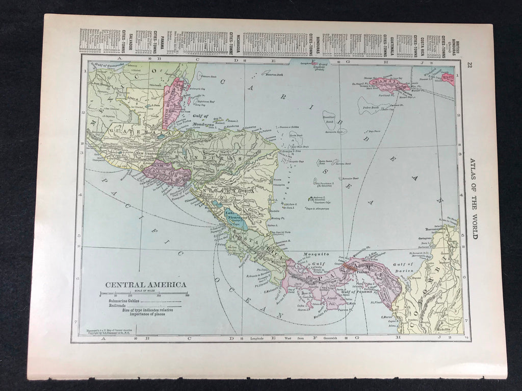 Antique 1919 Map Double Sided Gulf of Mexico / Central America Submarine