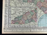 Antique 1919 USA Map Double Sided North Carolina and South Carolina