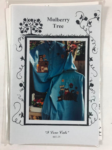 Mulberry Tree I Love Cats Unused MT-25 Birdhouses Applique 1997