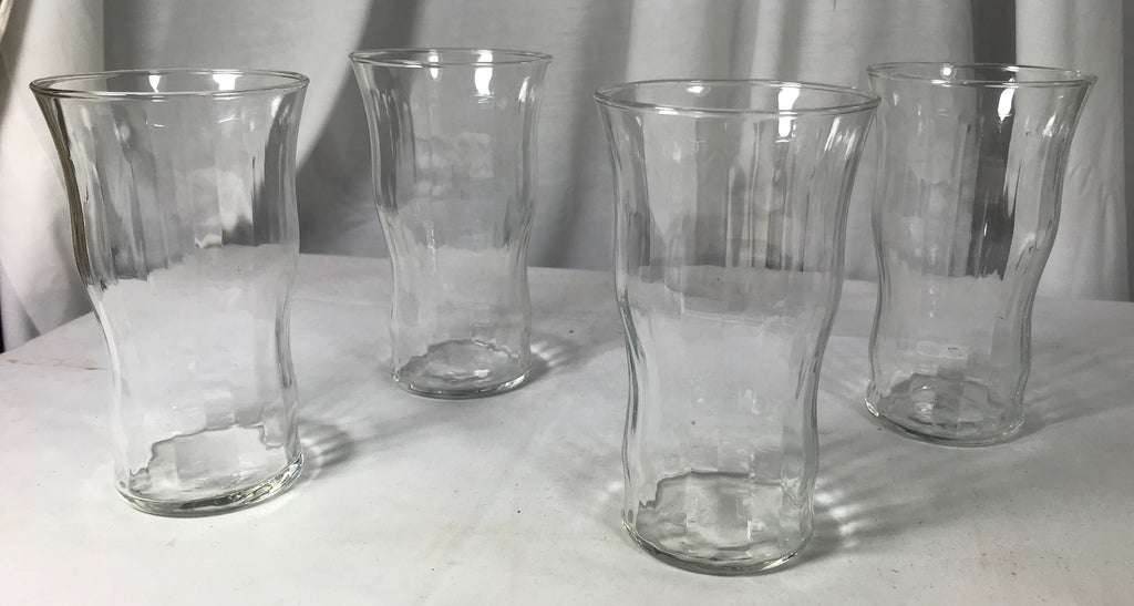 "4 Libbey Optic Flat Bottom Tumblers Clear Curvy 5 1/2"" - Cabin Fever Purveyors"