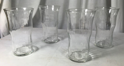4 Libbey Optic Flat Bottom Tumblers Clear Curvy 5 1/2""