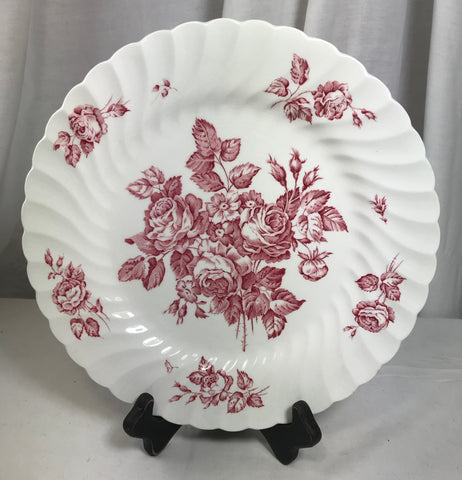 "Vintage Devon Sprays by Johnson Brothers 10"" Dinner Plate Pink Flowers England - Cabin Fever Purveyors"