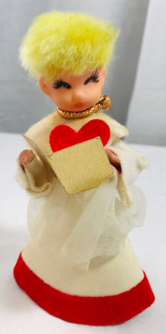 Vintage Christmas Japan Cardboard / Plastic / Felt Choir Ornament Decoration - Cabin Fever Purveyors