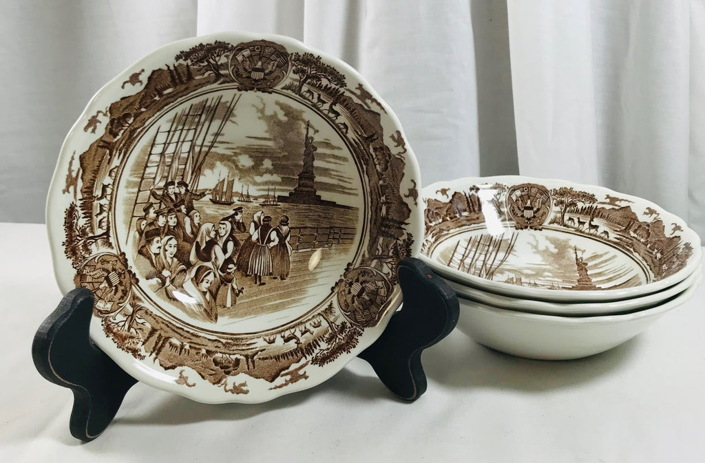 "Royal Staffordshire J & G Meakin American Legend 6+"" Ironstone England 4 Cereal - Cabin Fever Purveyors"