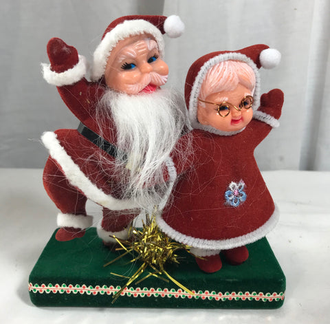 Vintage Flocked Dancing Mr & Mrs Santa Claus Plastic Figure Felt Chenile - Cabin Fever Purveyors