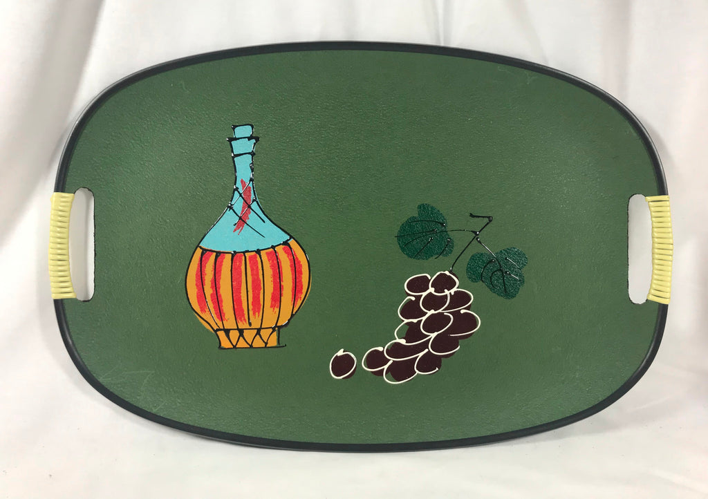Vintage MCM Serving Tray Green Wine Bottle Grapes Wrapped Handles Made in Japan