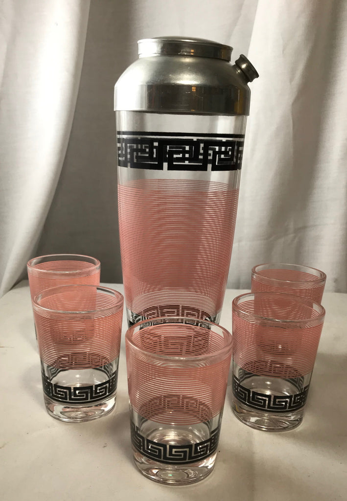 MCM Hazel Atlas Pink Rings Black Greek Key Barware Shaker 5 Glasses