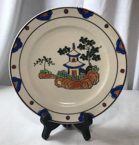 Vintage Hand Painted Made in Japan Pottery China Plate Pagoda Floral Mark MIJ - Cabin Fever Purveyors