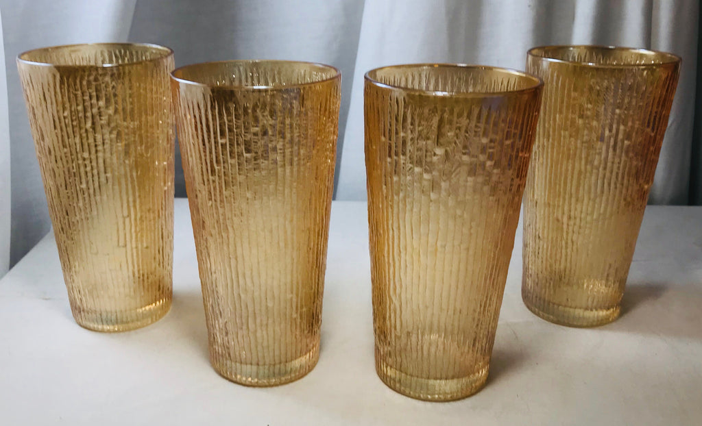 "Vtg 4 Jeannette Tree Bark Variant 16 oz Glasses 6 1/4"" Ribbed Marigold Carnival - Cabin Fever Purveyors"