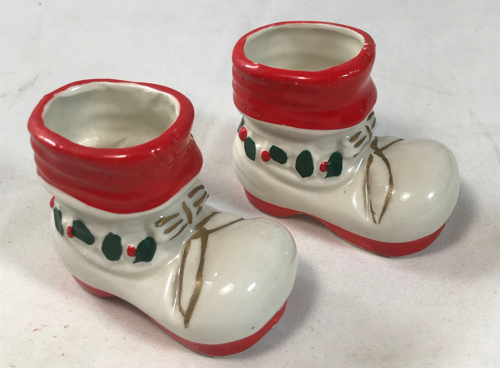 Vintage Pair Japan Santa Claus Boot Toothpick Holder Porcelain Christmas