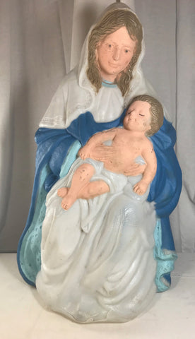 "Vintage TPI 1996 Christmas Madonna Mary Jesus Blow Mold 25"" No Light Nativity - Cabin Fever Purveyors"