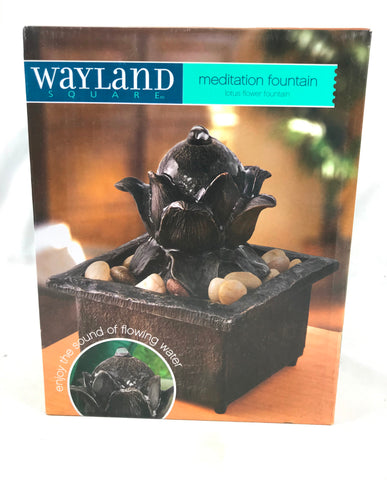 2015 Meditation Fountain Lotus Flower Wayland Square New in Box