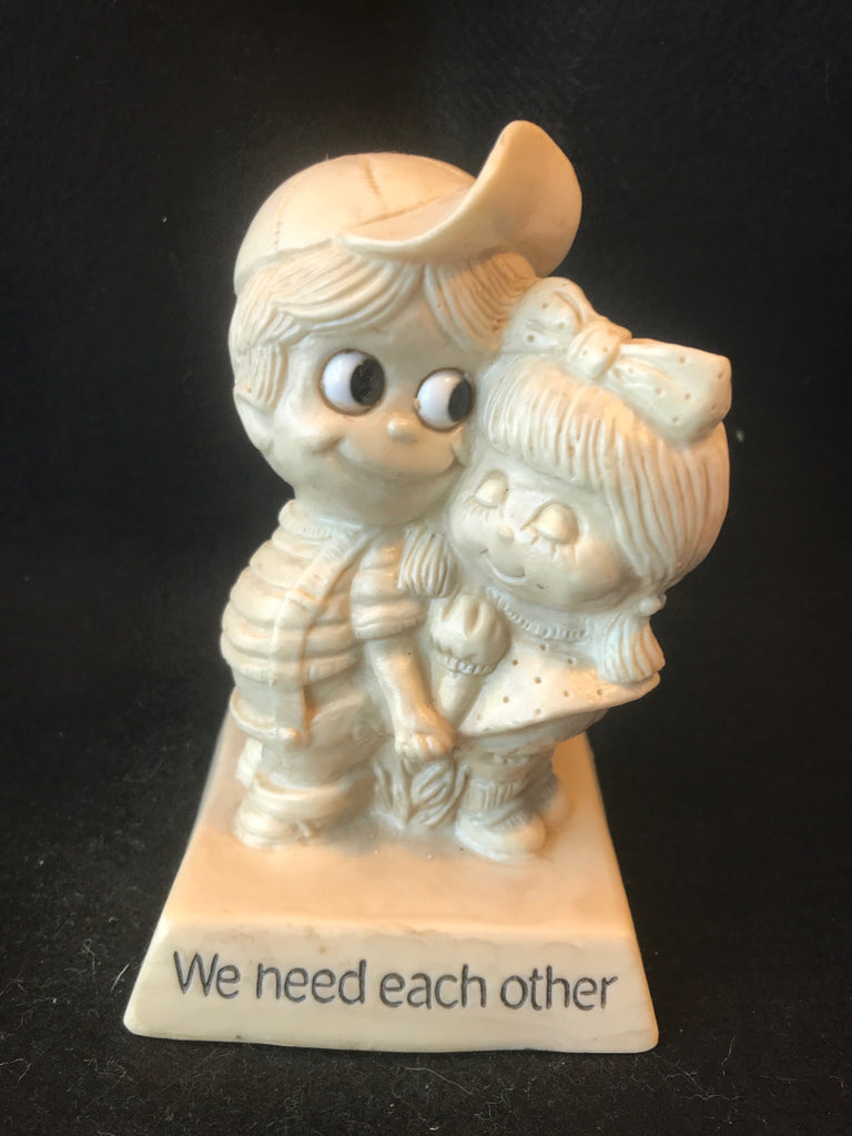 Vtg Berries Sillisculpt Figure We Need Each Other Love Valentine  1970 - Cabin Fever Purveyors