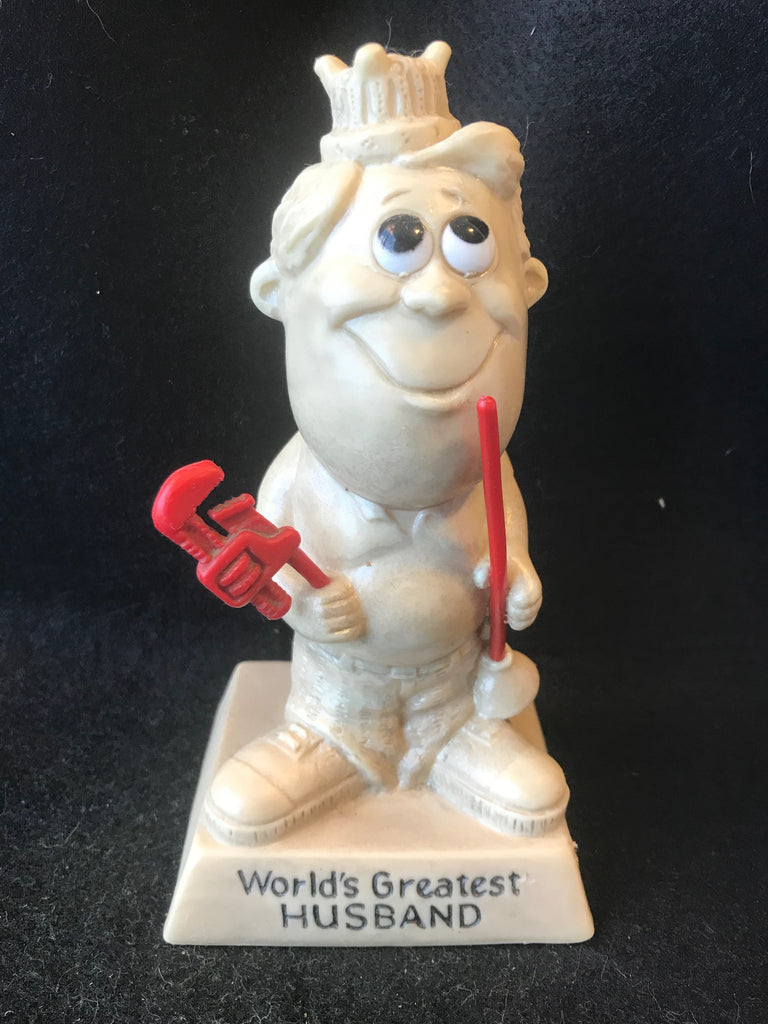 Vtg Berries Sillisculpt Figure World's Greatest Husband Handy Man Plumber 1970 - Cabin Fever Purveyors