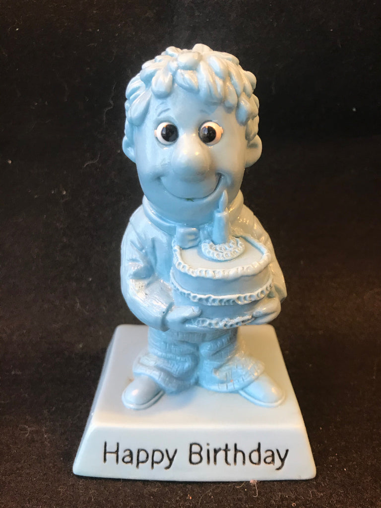 Vtg Berries Sillisculpt Happy Birthday Blue Man with Cake 1970 - 75 Retro - Cabin Fever Purveyors