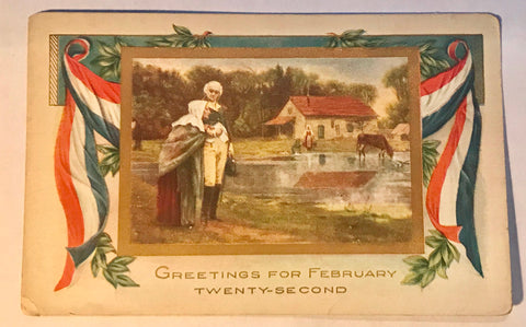 Washington's Birthday Post Card Whitney Made Embossed Feb 22 PC Unpost Patriotic