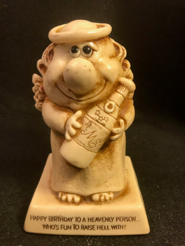 Vtg Berries Statue Sillisculpt Happy Birthday Heavenly Person Raise Hell 1978 - Cabin Fever Purveyors