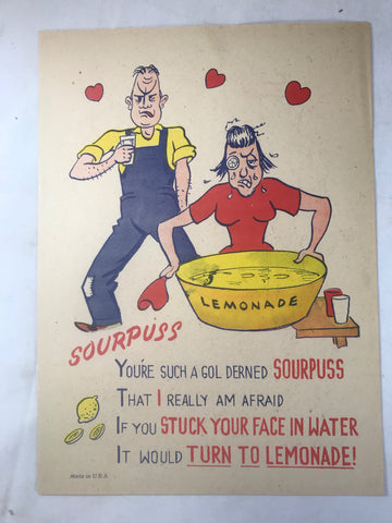 Vinegar Valentine Sourpuss Penny Dreadful Vintage Pulp Insult Comic Humor Poem - Cabin Fever Purveyors