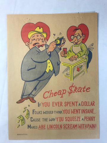 Vinegar Valentine Cheap Skate Penny Dreadful Vintage Pulp Insult Comic Humor - Cabin Fever Purveyors