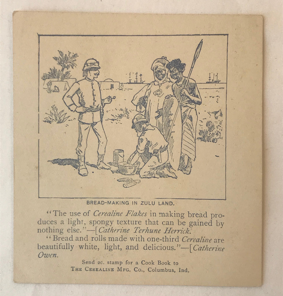 Cerealine Flakes Antique Trade Card 1890's Zulu Land African Native Columbus Ind - Cabin Fever Purveyors