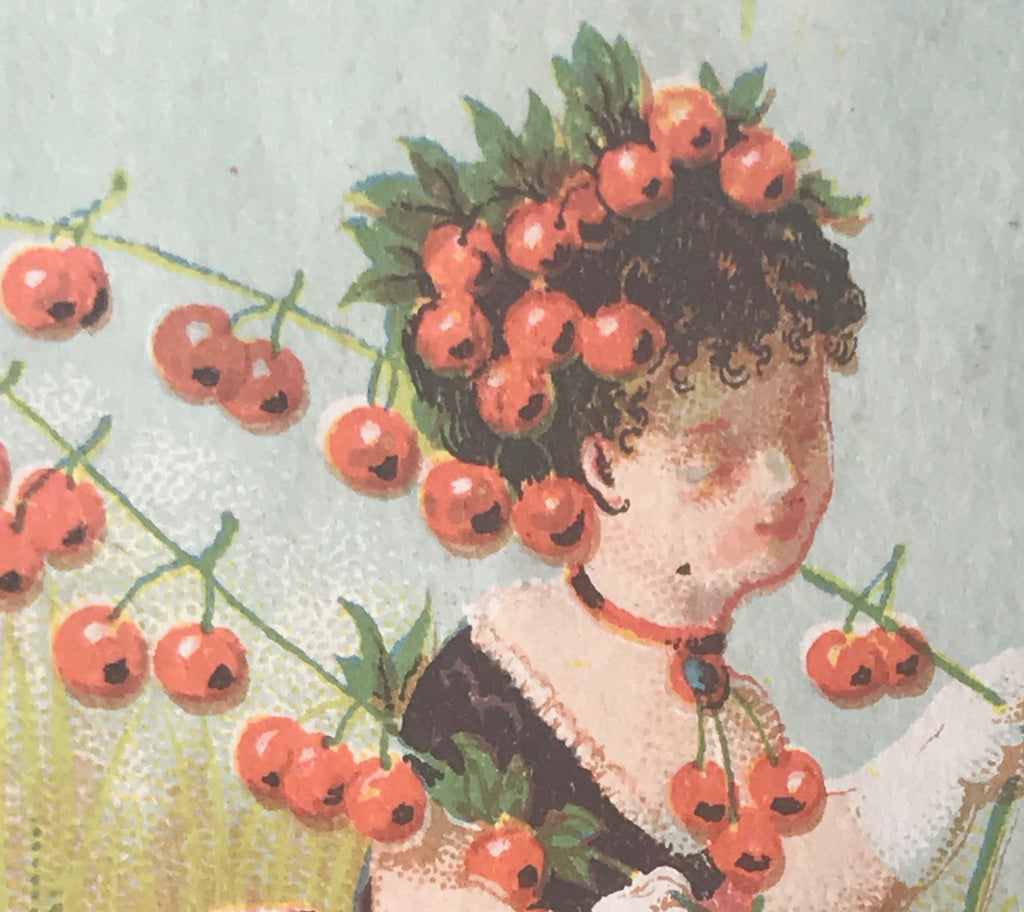 Victorian Trade Card Lancaster PA Shaub & Burns Shoes Girl w/ Cherries Queen St - Cabin Fever Purveyors