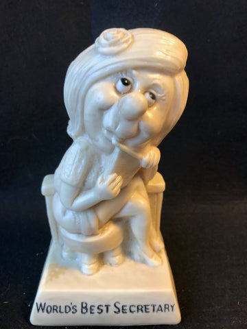 Vtg R & W Berries Statue Sillisculpt World's Best Secetary 1971 #827 - Cabin Fever Purveyors