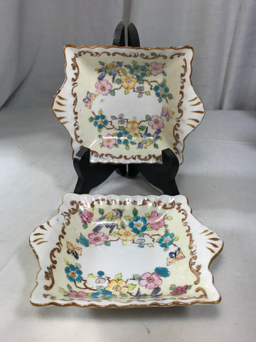 "2 Crown Staffordshire Bone China Birds Butterfly Butter Pat / Nut Dish 4"" Square - Cabin Fever Purveyors"