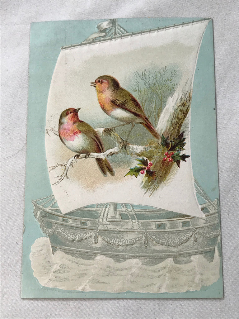 Victorian Trade Card Toledo OH Lion Coffee Woolson Spice Birds Ship VG Embossed - Cabin Fever Purveyors