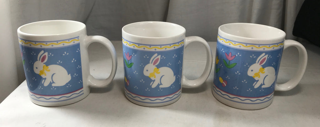 Easter Mugs Set of 3 Pastels Bunny Tulip Eggs Blue White Made in China - Cabin Fever Purveyors