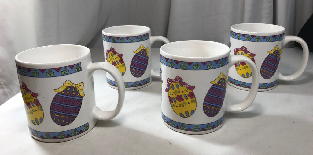 Easter Mugs Set of 4 Decorated Eggs Made in China - Cabin Fever Purveyors
