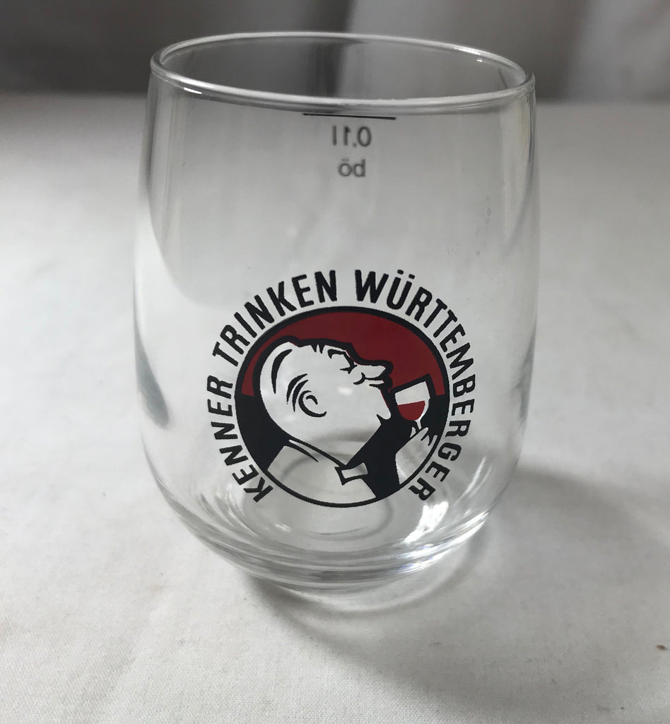 "Kenner Trinken Wurttemberger Vintage Advertising Glass 2 3/4"" - Cabin Fever Purveyors"