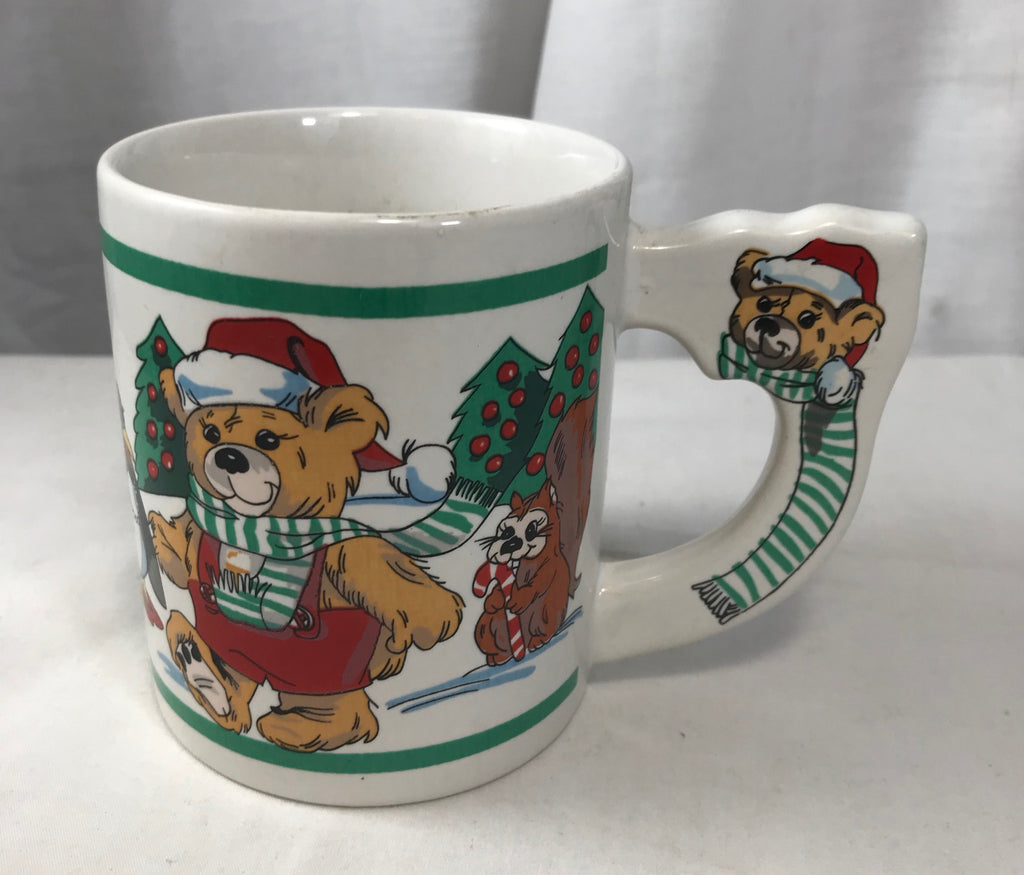Alco Christmas Mug Bear Handle Animals Celebrating Made in China Colorful - Cabin Fever Purveyors