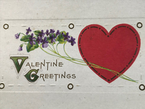 Vtg Stecher Litho Valentine Greetings Post Card c. 1920 Embossed Violets Heart - Cabin Fever Purveyors
