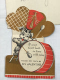 Vintage Die Cut GB Valentine Dog Playing Drum Made in USA #7054 D Marching Band - Cabin Fever Purveyors