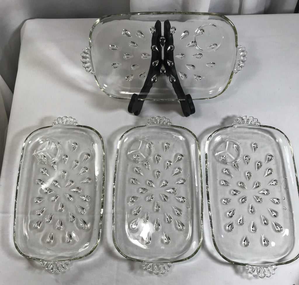 4 Vintage Hazel Atlas Tear Drop Glass Snack Luncheon Trays No Cups - Cabin Fever Purveyors