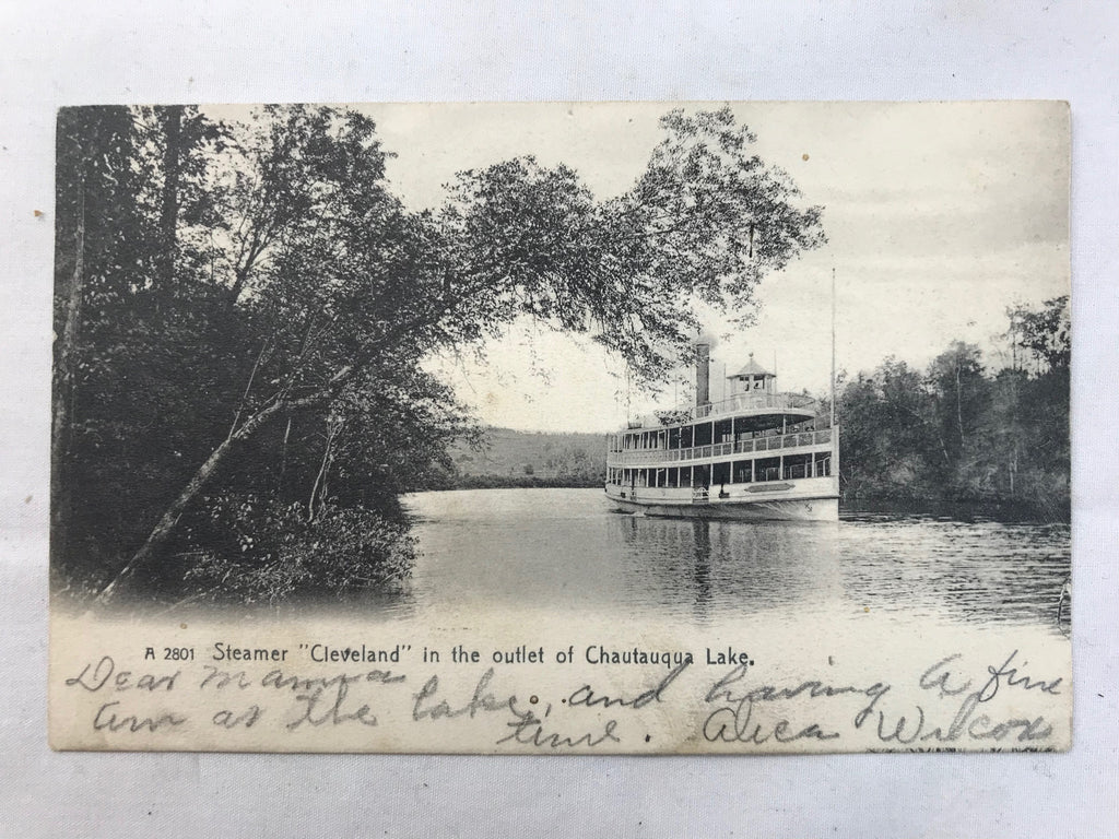 Vtg Steamer Cleveland Chautauqua Lake Buffalo & Pitts 1906 RPPC Undivided Ship - Cabin Fever Purveyors
