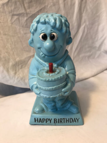 Vtg R & W Berries Statue Sillisculpt Happy Birthday Blue Goofy Man Cake Candle - Cabin Fever Purveyors