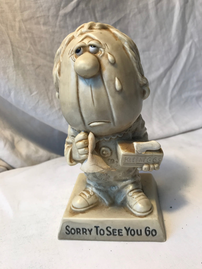 Vtg R & W Berries Statue Sillisculpt Sorry to See You Go 1971 #822 - Cabin Fever Purveyors
