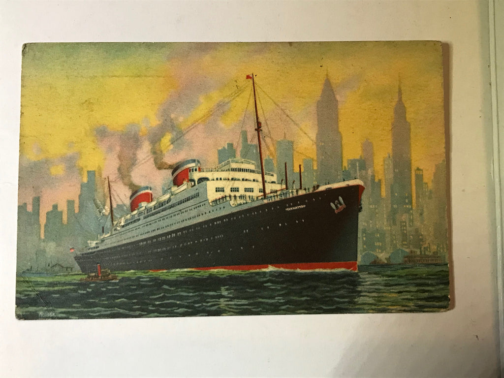 SS Manhattan U.S. Ger. Sea Post 1934 United States Lines - Cabin Fever Purveyors