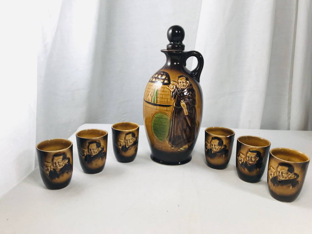 Moriyama Decanter w/ 6 Cups Brown Jug Monk Made in Japan MIJ - Cabin Fever Purveyors